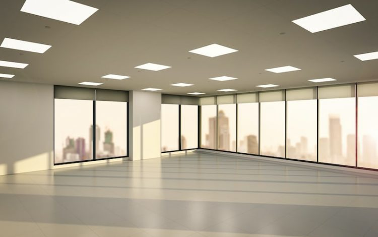 An illustration of a cleared out office space