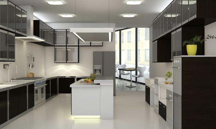 3d interior of backroom kitchen in a restaurant or cafe