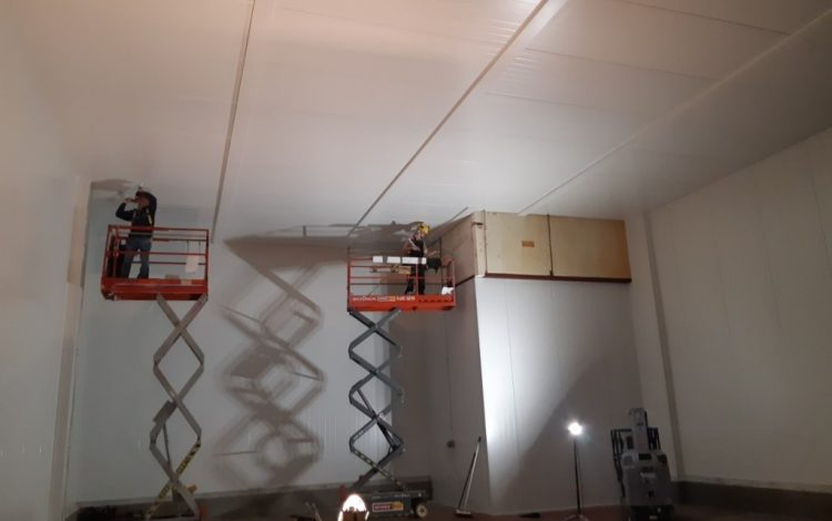 Two construction workers installing Isowall insulated wall panels