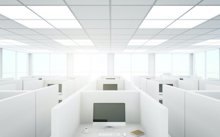 Modern coworking office interior with partitions and computers. 3D Rendering